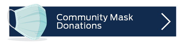 blue rectangle button with a vector of a mask with words Community Mask Donations
