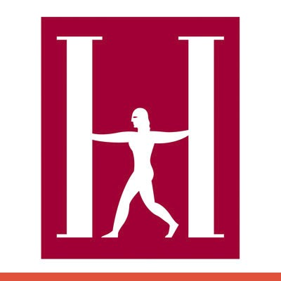 Red and white logo person silhouette between two columns making an H