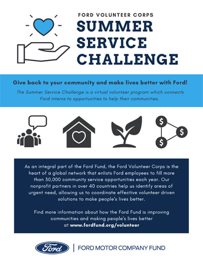 Two pages of the Summer Service Challenge including WEEK 5 MAKE A PLAN After you've completed the challenges, work with your fellow interns to build a proposal for the Ford College Community Challenge, a grant competition for student-led projects that address local community needs. Learn more at: https://bit.ly/FordFundC3
