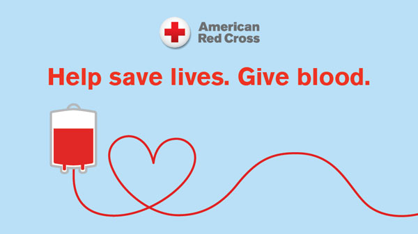 Help save lives text with partially filled blood bag and line in heart outline graphic