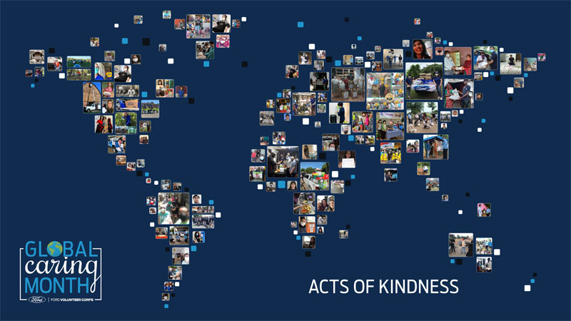 Thumbnails from Acts of Kindness projects in shape of world map with Global Caring Month logo