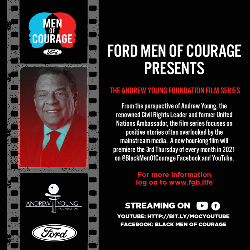 FORD MEN OF COURAGE PRESENTS poster of Men of Courage, Ford oval, Andrew Young film series details with logos