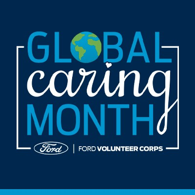 Global Caring Month stacked logo with a globe for the letter O