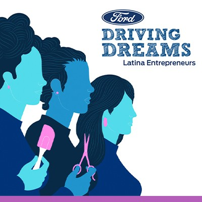 Silhouettes of three females in shades of blue, one holding a spatula second hair trimmers to left of Ford Driving Dreams Latina Entrepreneurs logo
