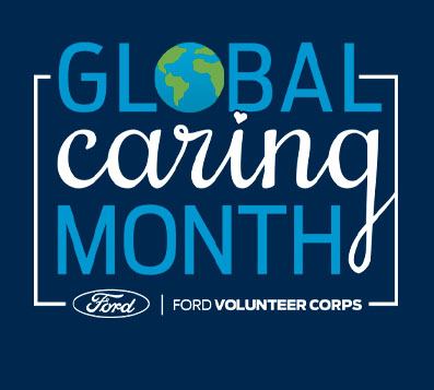 GLOBAL in blue with world as O, caring in white script, MONTH in blue stacked above Ford in oval to left of FORD VOLUNTEER CORPS