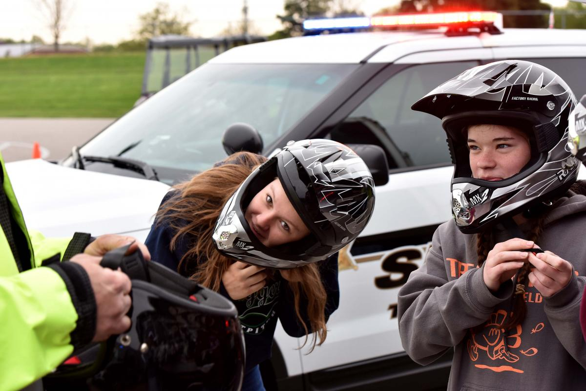 Students prepare to participate in a safe driving demonstration. Photograph: Sam VarnHagen