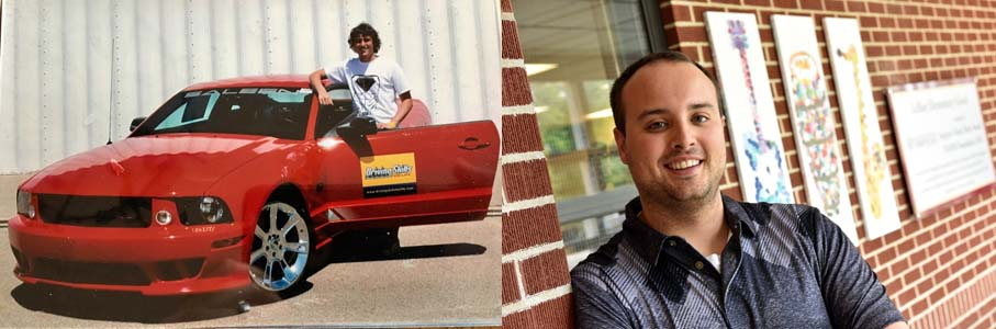 Drew Scott in 2007 during the first Driving Skills for Life class (left) and him now. Scott is currently an elementary school teacher. Photograph: Sam VarnHagen