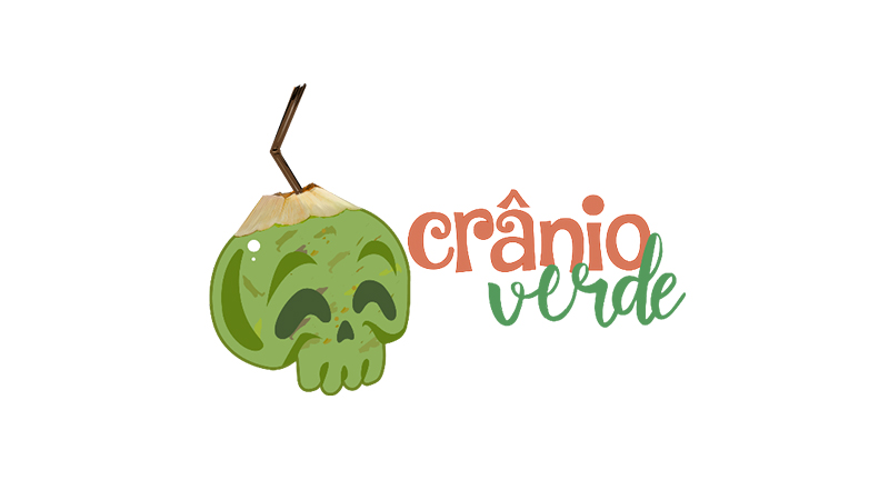 Illustrated green skull logo with the words cranio verde