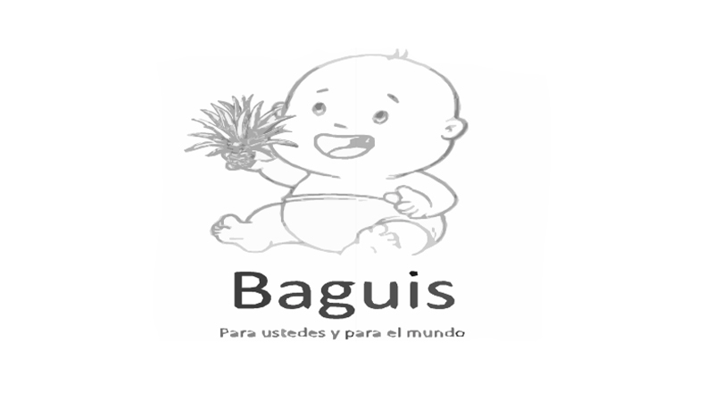 illustrated logo featuring an outline of a diapered baby holding a plant